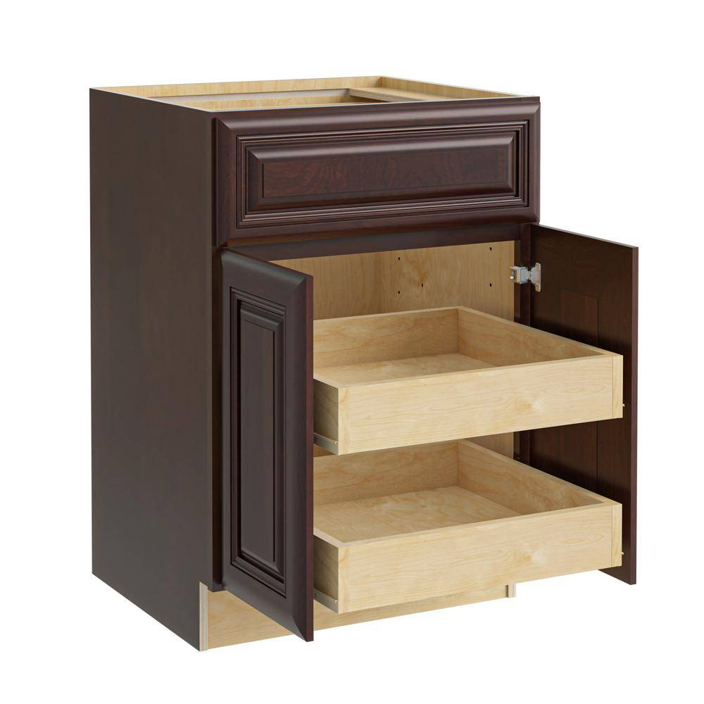Home Decorators Collection Roxbury Assembled 24x34.5x24 in. Plywood Mitered Base Kitchen Cabinet 2 rollouts Soft Close in Stained Manganite, Manganite Glaze