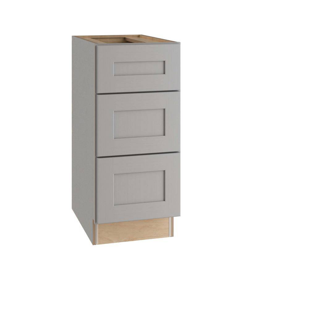 Home Decorators Collection Tremont Assembled 15x34.5x24 in. Plywood Shaker 3 Drawer Base Kitchen Cabinet Soft Close Drawers in Painted Pearl Gray, Gray Painted