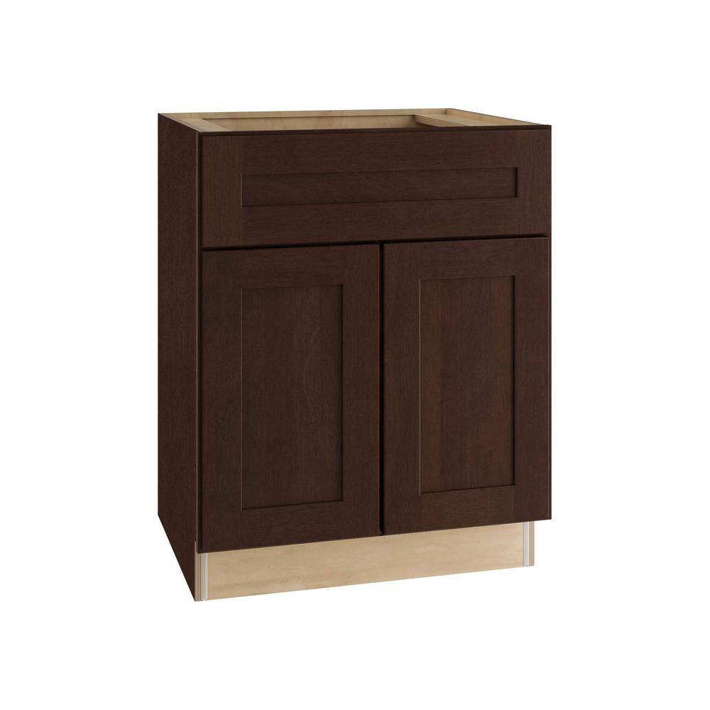 Home Decorators Collection Franklin Assembled 27x34.5x24 in. Plywood Shaker Base Kitchen Cabinet Soft Close Doors/Drawers in Stained Manganite, Manganite Glaze Stain