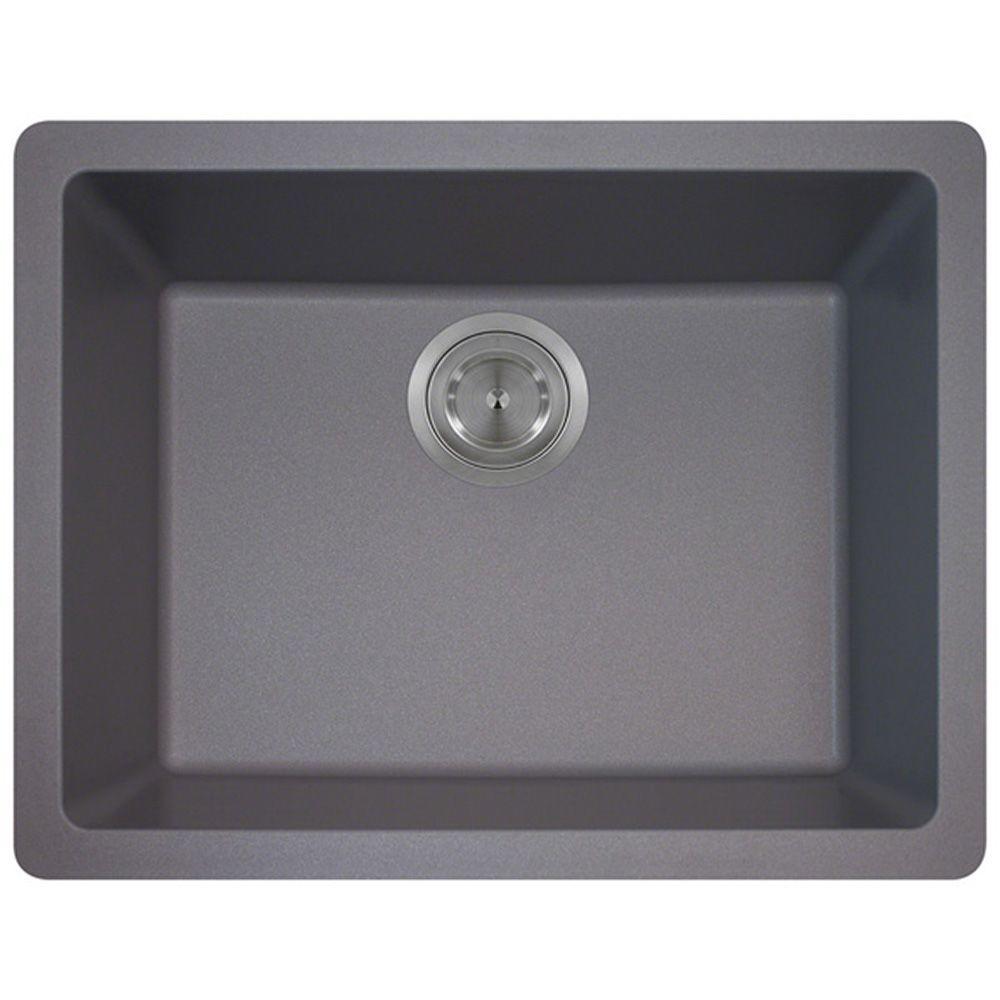 Polaris Sinks Undermount Granite 22 in. Single Bowl Kitchen Sink in Silver