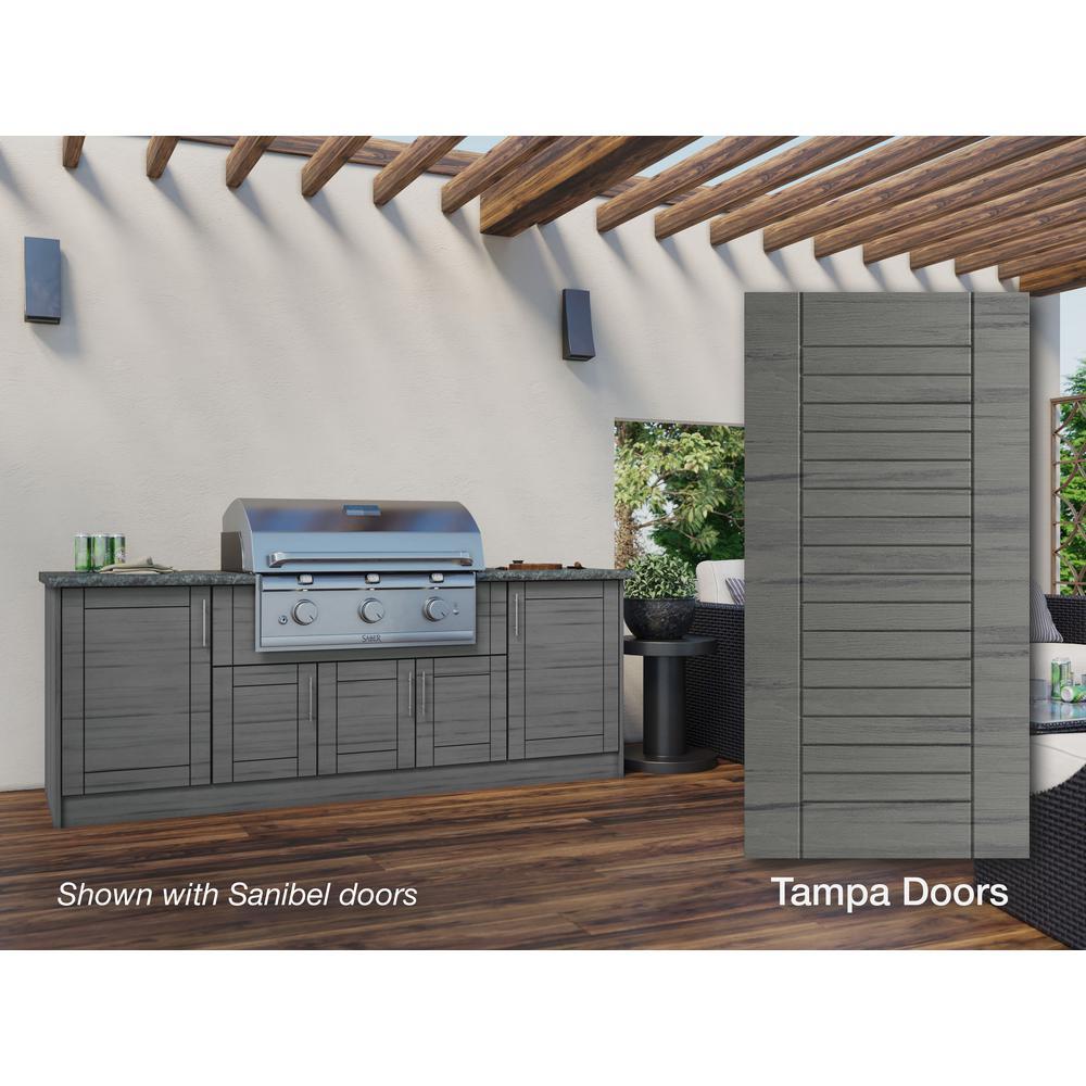 WeatherStrong Tampa Dark Ash 12-Piece 91.25 in. x 34.5 in. x 28 in. Outdoor Kitchen Cabinet Set