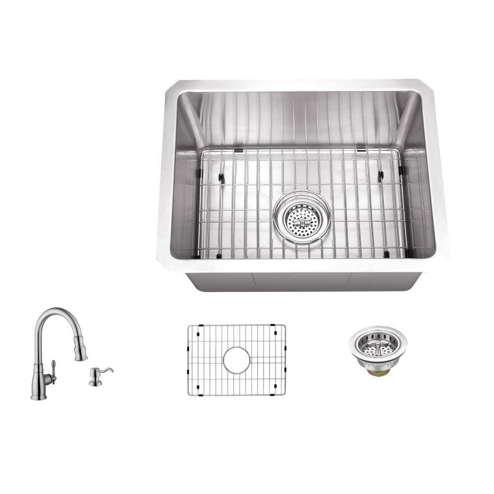 IPT Sink Company 16 Gauge Stainless Steel 15 in. Undermount Radius Bar Sink with Arc Faucet and Accessories, Brushed Satin
