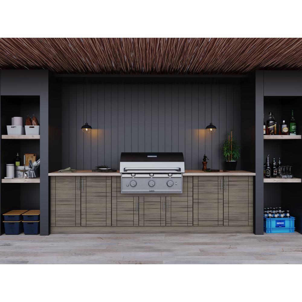 WeatherStrong Sanibel Weatherwood 17-Piece 121.25 in. x 34.5 in. x 28 in. Outdoor Kitchen Cabinet Set