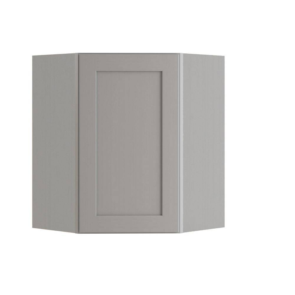 Home Decorators Collection Tremont Assembled 24x30x12 in. Plywood Shaker Wall Angle Corner Kitchen Cabinet Soft Close Right in Painted Pearl Gray, Gray Painted