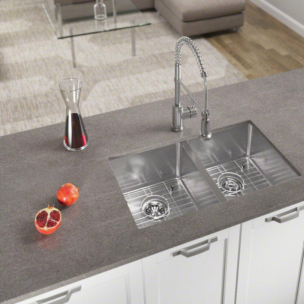 MR Direct Undermount Stainless Steel 31 in. Double Bowl Kitchen Sink with Additional Accessories, Brushed Satin