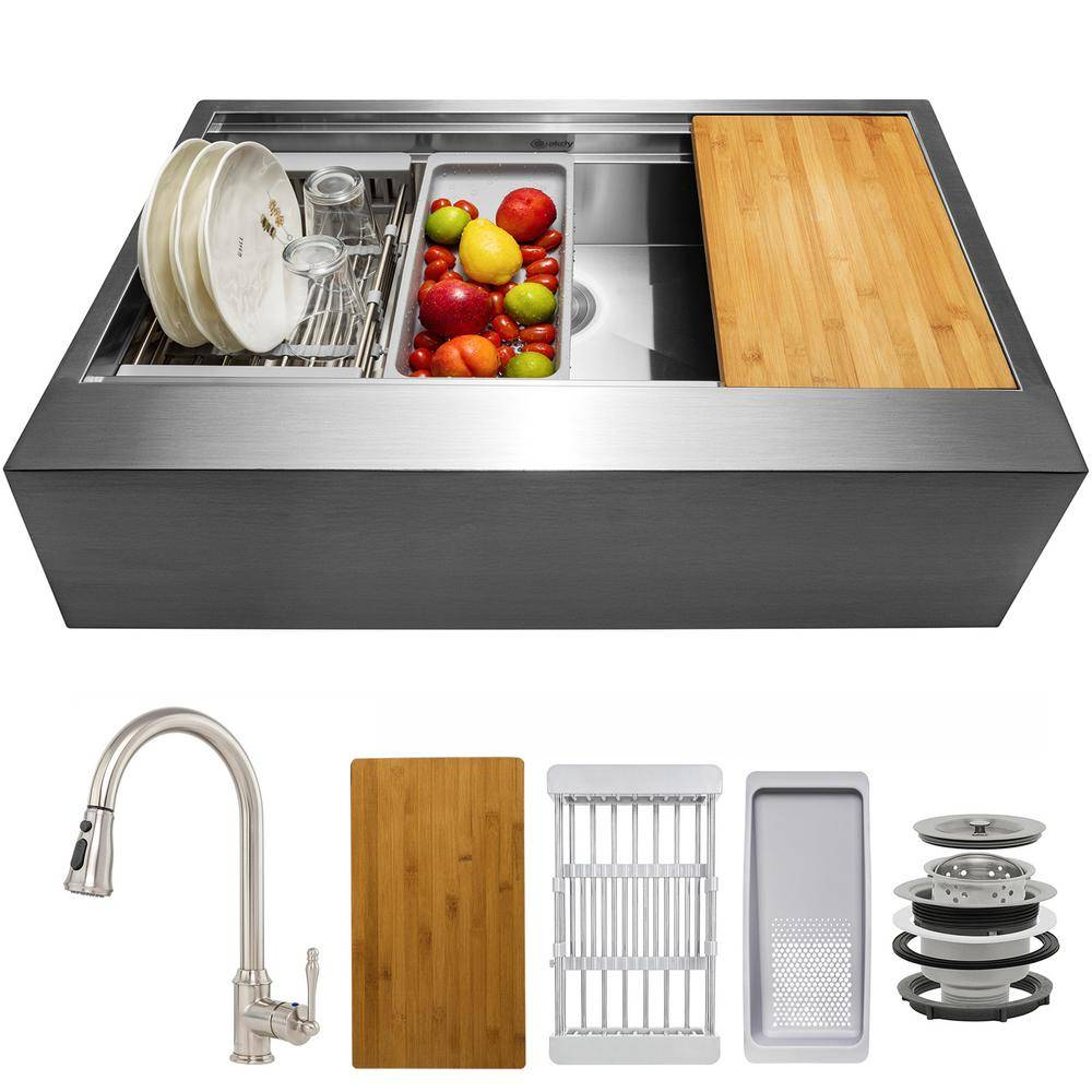 AKDY Handmade All-in-One Farmhouse Stainless Steel 33 in. x 22 in. Single Bowl Kitchen Sink w/ Pull-down Faucet, Accessory, Brushed Stainless Steel