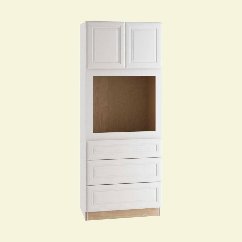 Home Decorators Collection Brookfield Assembled 33x84x24 in. Plywood Mitered Oven Kitchen Cabinet Soft Close in Painted Pacific White