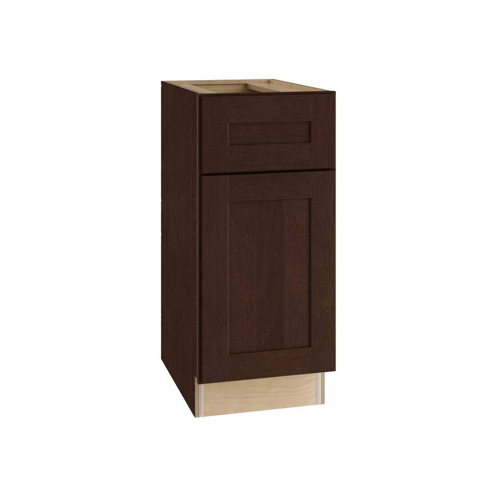 Home Decorators Collection Franklin Assembled 21x34.5x24 in. Plywood Shaker Base Kitchen Cabinet Right with Soft Close in Stained Manganite, Manganite Glaze Stain
