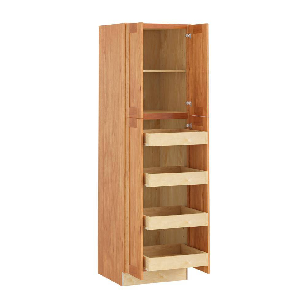 Home Decorators Collection Hargrove Assembled 24x84x24 in. Plywood Shaker Utility Kitchen Cabinet Soft Close 4 rollouts in Stained Cinnamon, Red
