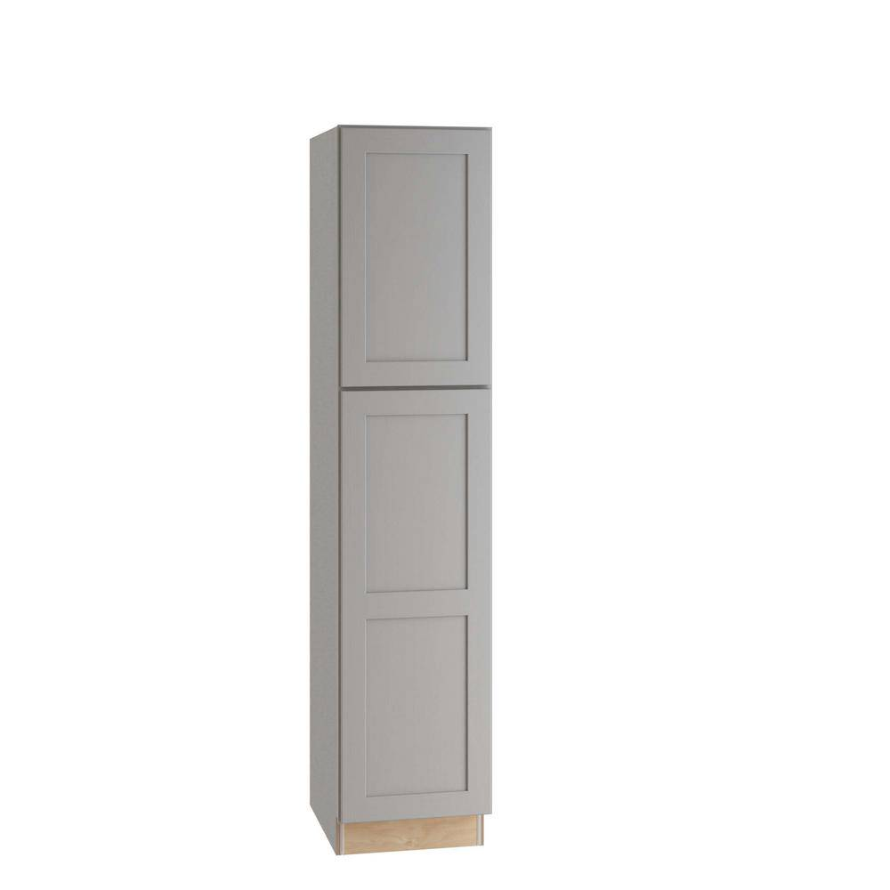 Home Decorators Collection Tremont Assembled 18x84x24 in. Plywood Shaker Utility Kitchen Cabinet Soft Close Left in Painted Pearl Gray, Gray Painted