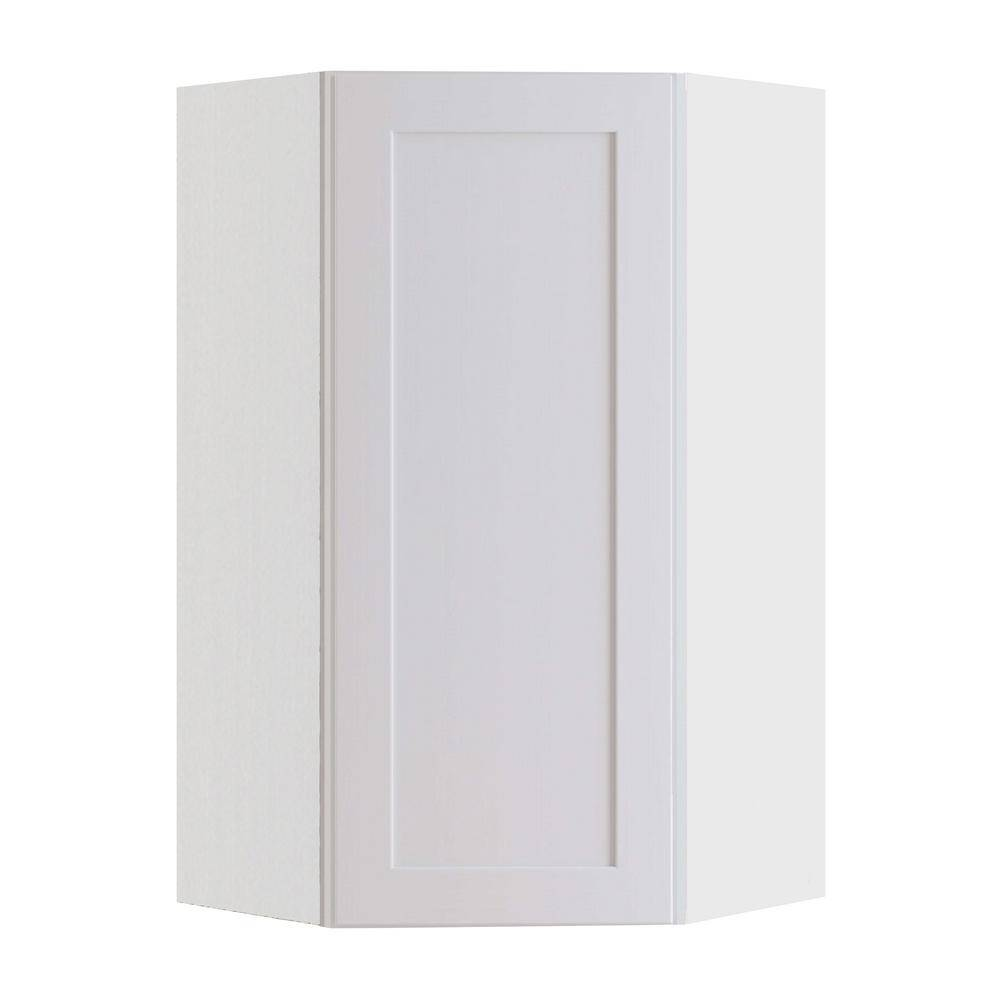 Home Decorators Collection Newport Assembled 24x36x12 in Plywood Shaker Wall Angle Corner Kitchen Cabinet Soft Close Right in Painted Pacific White, Pacific White Painted