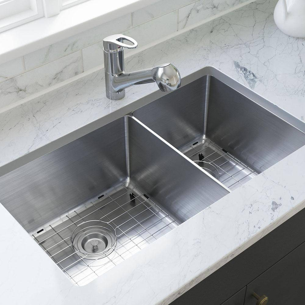 MR Direct Stainless Steel 31-1/8 in. Double Bowl Undermount Kitchen Sink with Gray SinkLink and additional accessories