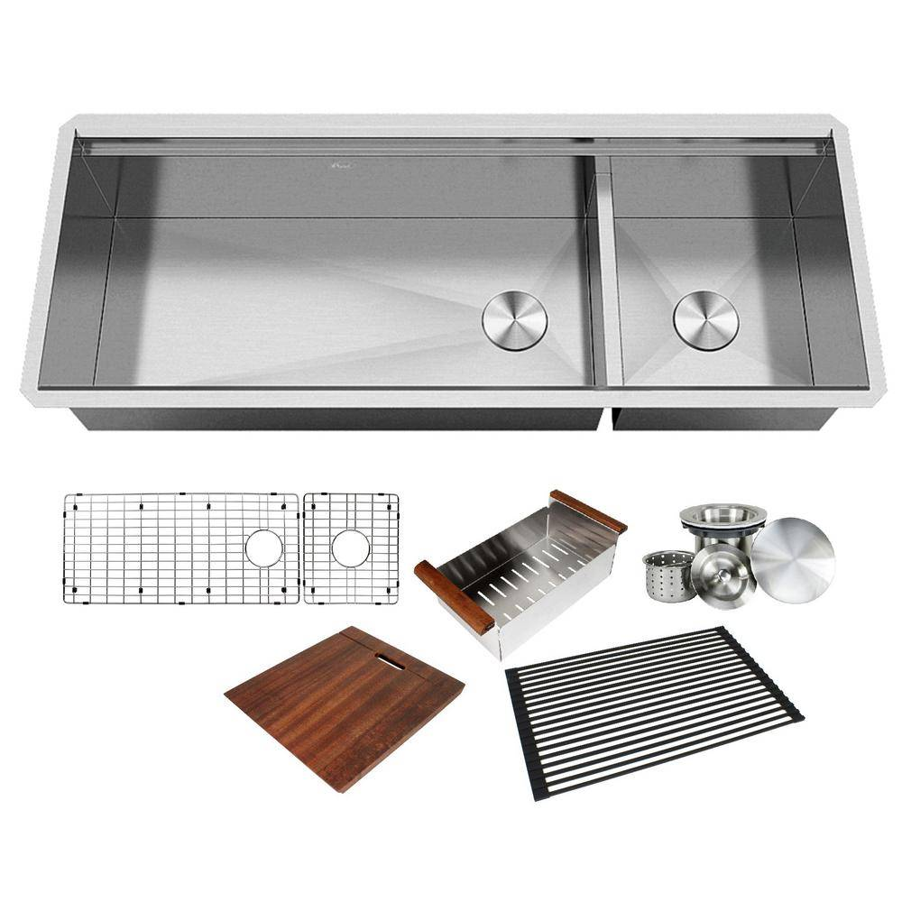 All-in-One Series Undermount Stainless Steel 48 in. Double Bowl Kitchen Sink in Brushed Finish with Accessories, Brushed Stainless Steel Finish