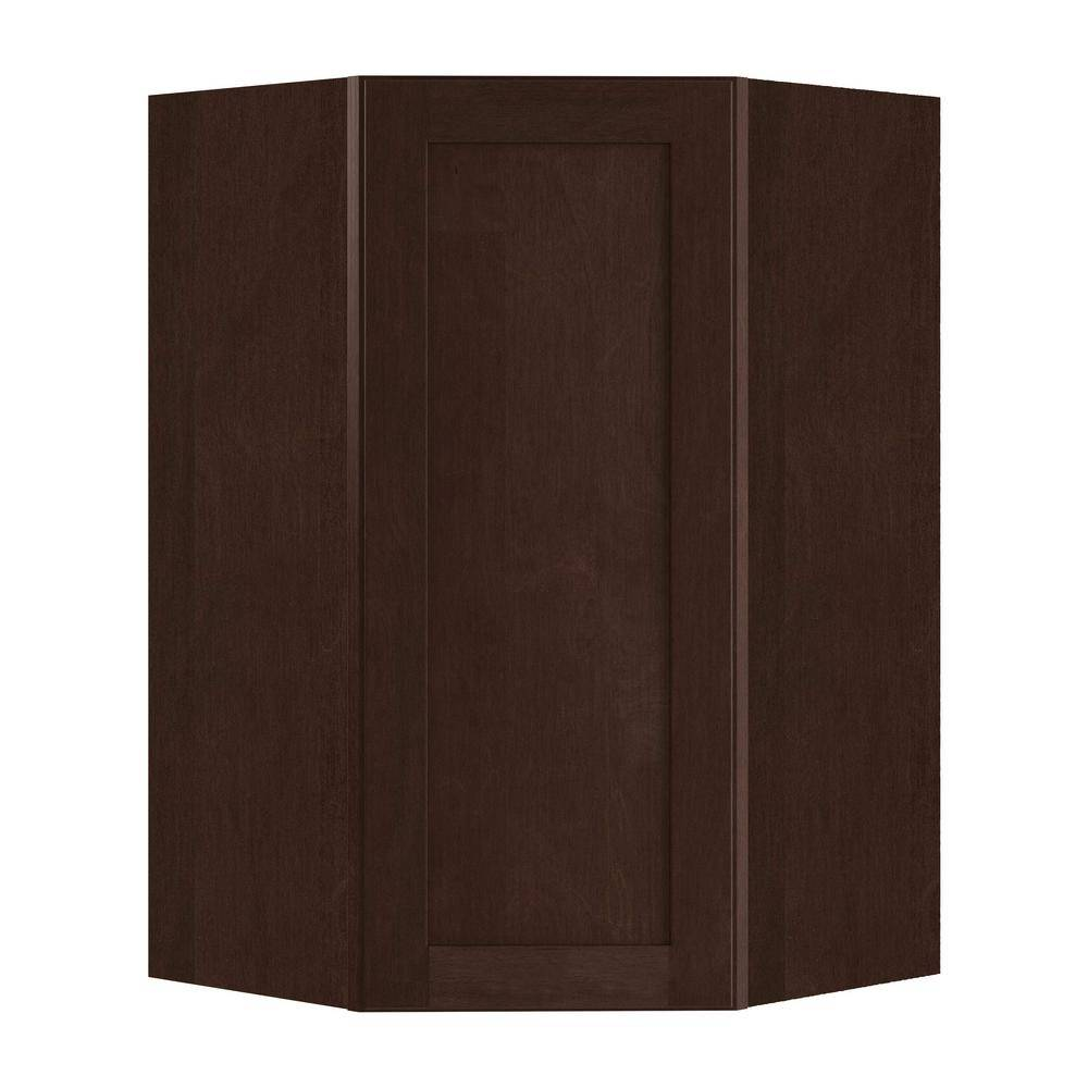 Home Decorators Collection Franklin Assembled 27x36x15 in. Plywood Shaker Wall Angle Corner Kitchen Cabinet Soft Close Left in Stained Manganite, Manganite Glaze