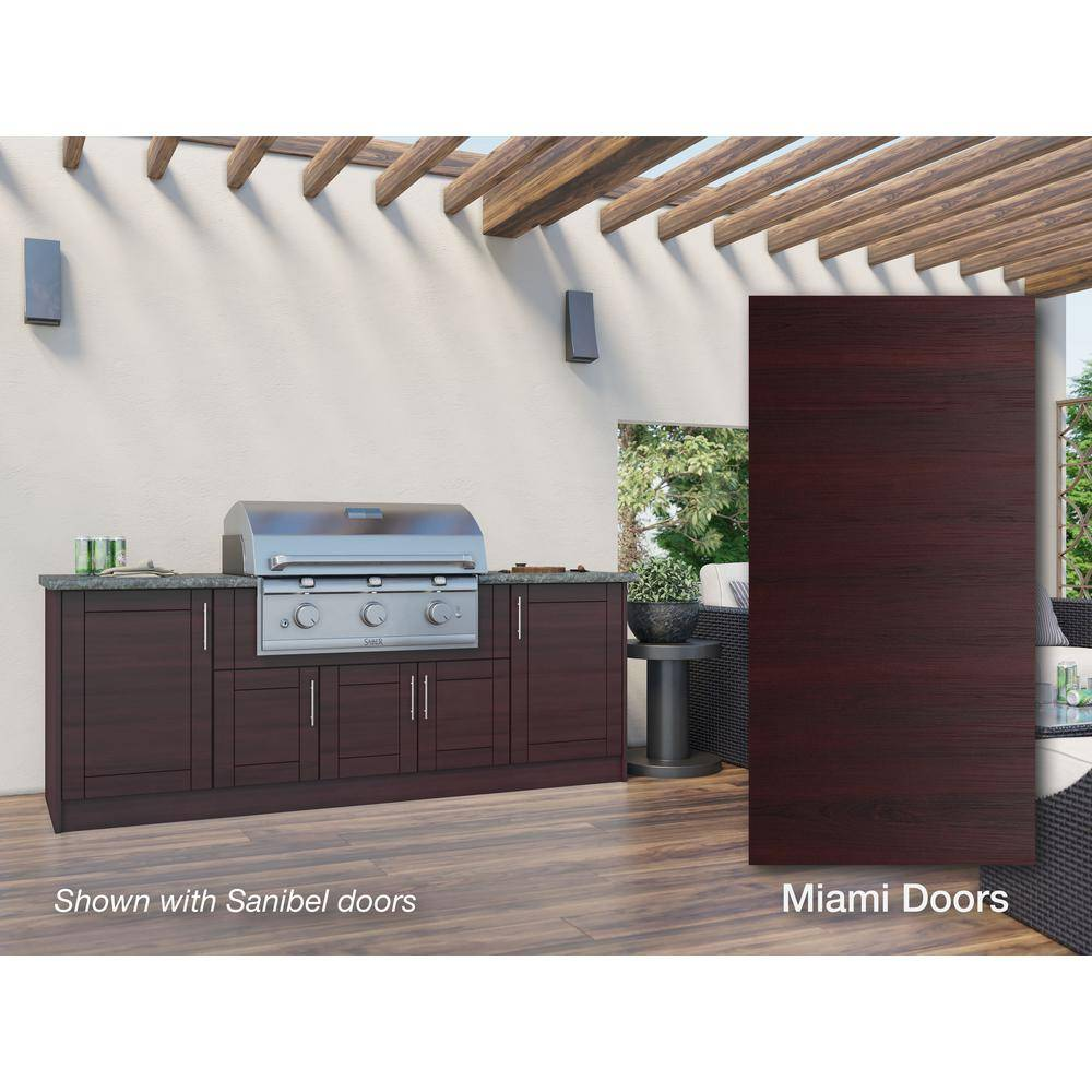 WeatherStrong Miami Mahogany 12-Piece 91.25 in. x 34.5 in. x 28 in. Outdoor Kitchen Cabinet Set