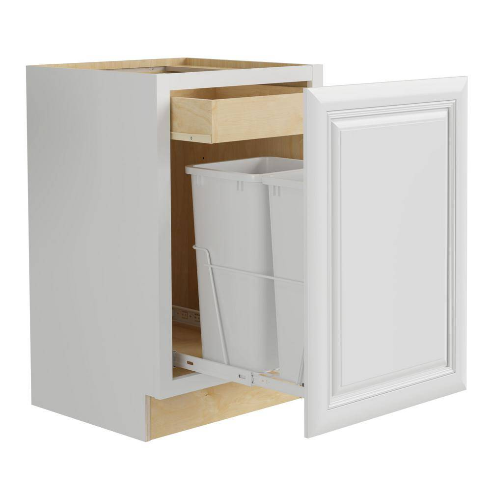 Home Decorators Collection Brookfield Assembled 18x34.5x24 in. Plywood Mitered Double Wastebasket Base Kitchen Cabinet in Painted Pacific White