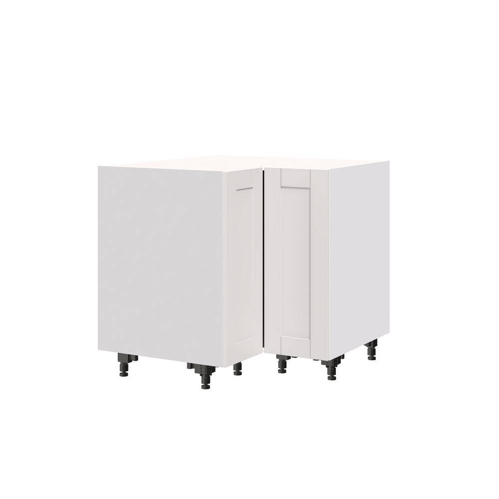 J COLLECTION Shaker Assembled 36x34.5x24 in. Corner Base Cabinet with Lazy Susan Turn Table Accessory in Vanilla White, Warm White