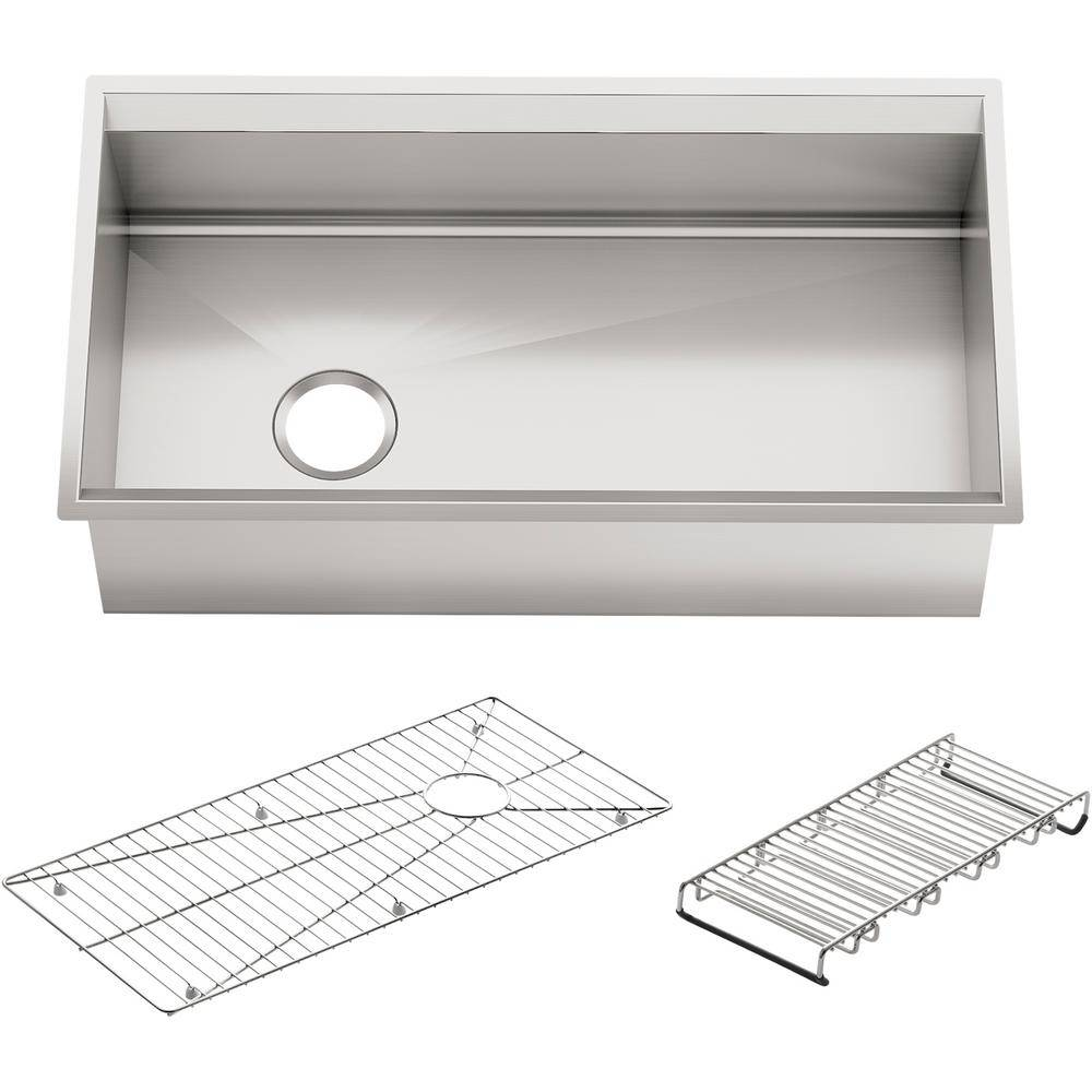 KOHLER 8° Undermount Stainless Steel 33 in. Single Bowl Kitchen Sink with Included Accessories, Silver