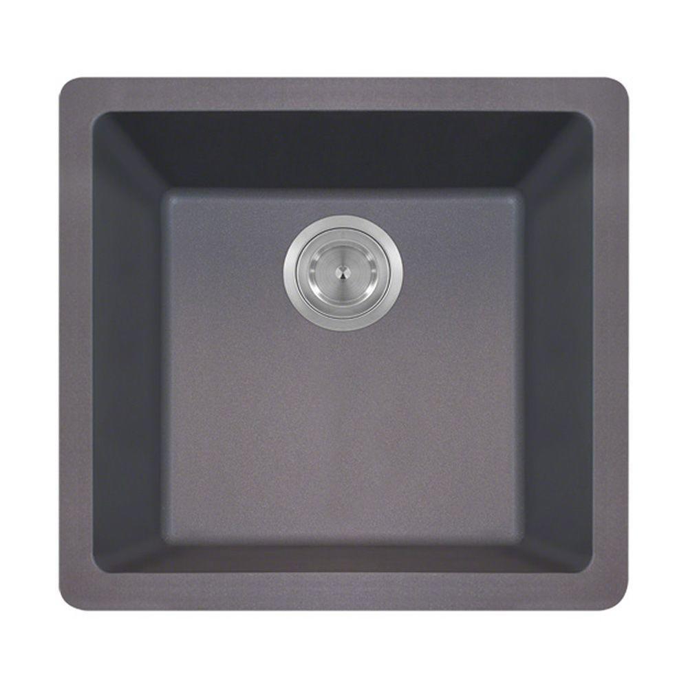 Polaris Sinks Undermount Granite 18 in. Single Bowl Kitchen Sink in Silver