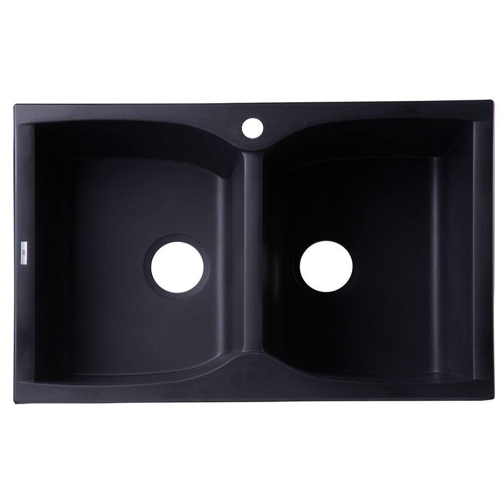 ALFI BRAND Drop-In Granite Composite 31.13 in. 1-Hole 50/50 Double Bowl Kitchen Sink in Black