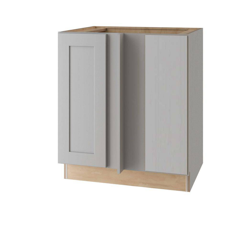 Home Decorators Collection Tremont Assembled 39 x 34.5 x 24 in Plywood Shaker Blind Corner Base Kitchen Cabinet Rt Soft Close in Painted Pearl Gray, Gray Painted