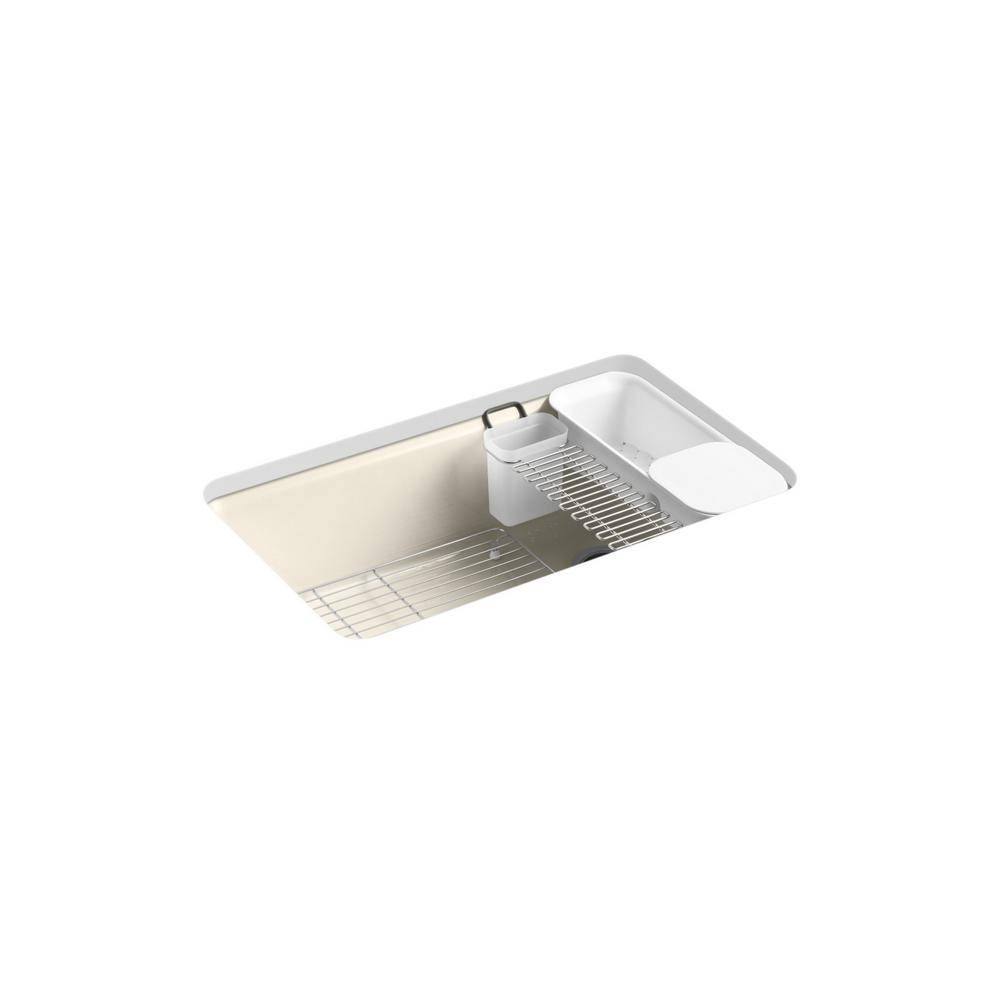 KOHLER Riverby Undermount Cast-Iron 33 in. 5-Hole Single Bowl Kitchen Sink Kit with Accessories in Cane Sugar