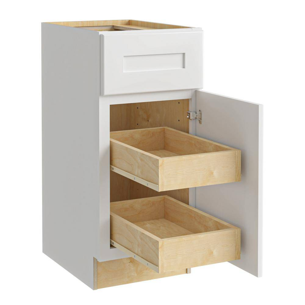 Home Decorators Collection Newport Assembled 12x34.5x24 in Plywood Shaker Base Kitchen Cabinet Right 2 rollouts Soft Close in Painted Pacific White, Pacific White Painted