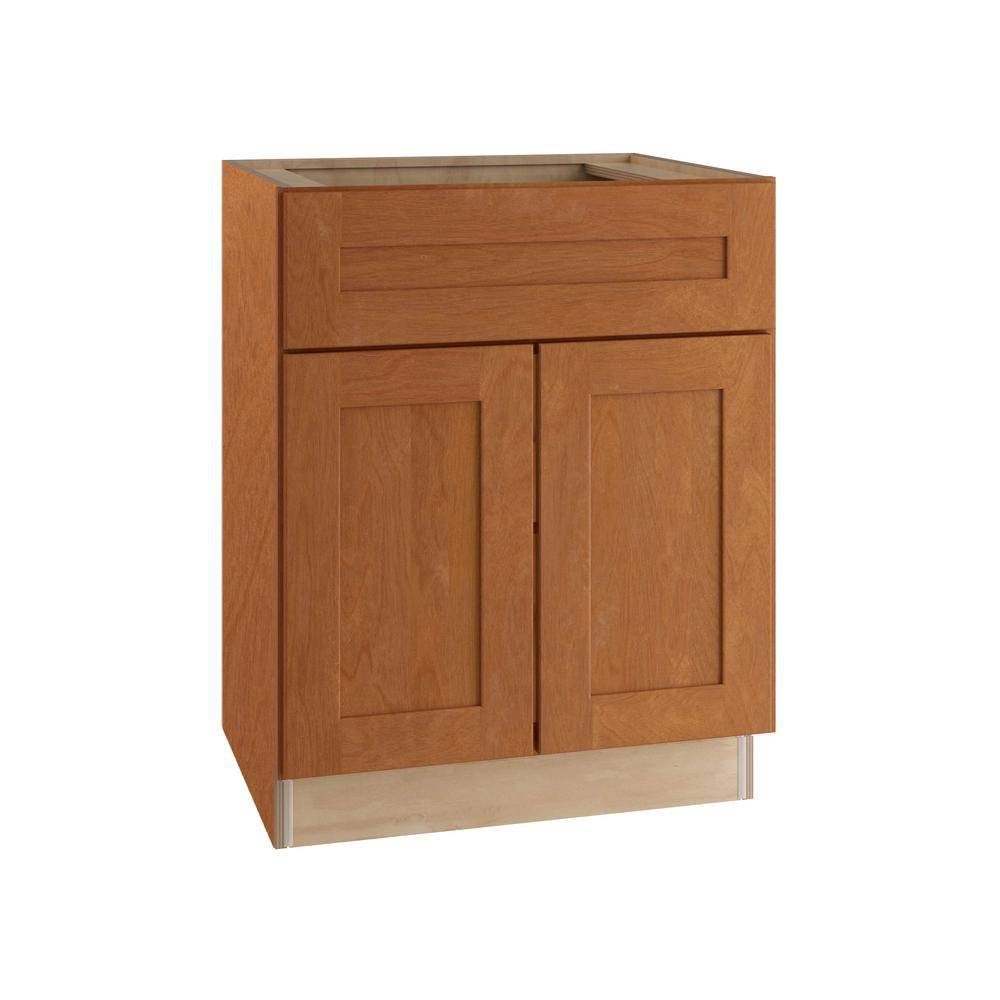 Home Decorators Collection Hargrove Assembled 27x34.5x24 in. Plywood Shaker Sink Base Kitchen Cabinet Soft Close Doors in Stained Cinnamon, Cinnamon Stain