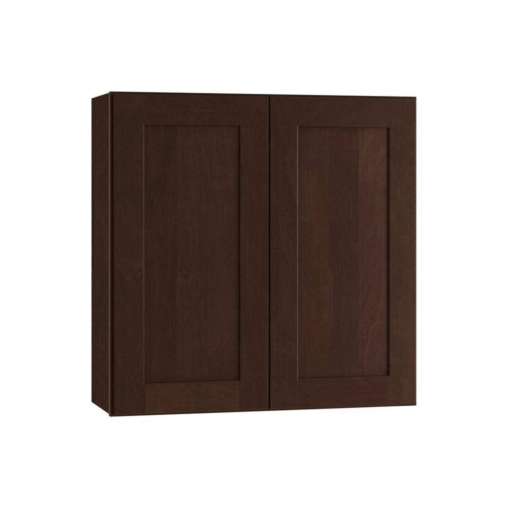Home Decorators Collection Franklin Assembled 30 x 30 x 12 in. Plywood Shaker Wall Kitchen Cabinet Soft Close in Stained Manganite, Manganite Glaze Stain
