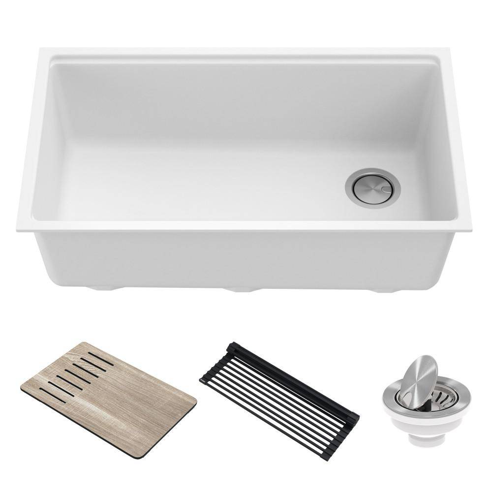 KRAUS Bellucci White Granite Composite 32 in. Single Bowl Undermount Workstation Kitchen Sink with Accessories