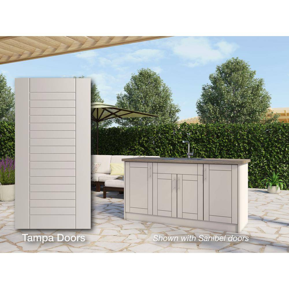 WeatherStrong Tampa Shoreline Gray 13 piece 67.25 in. x 34.5 in. x 25.5 in. Outdoor Kitchen Cabinet Island set