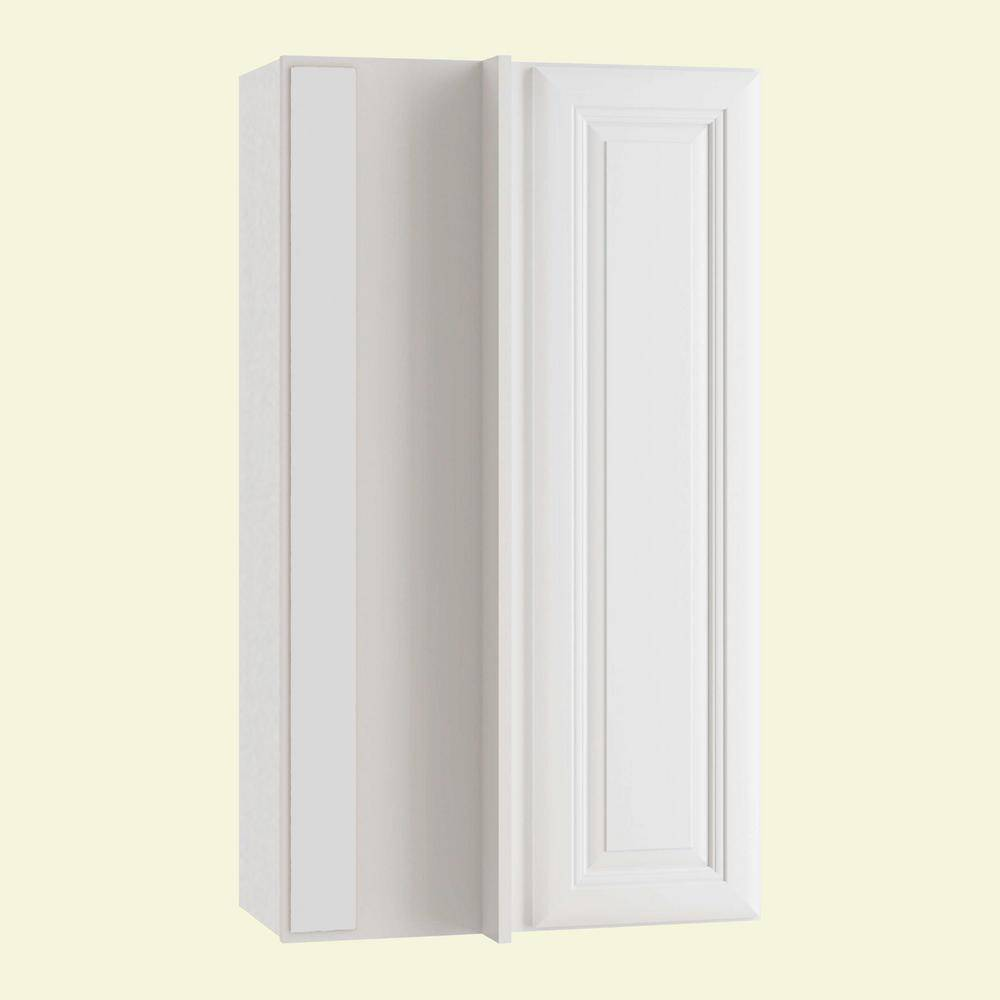 Home Decorators Collection Brookfield Assembled 27x42x12 in. Plywood Wall Blind Corner Kitchen Cabinet Soft Close Left in Painted Pacific White