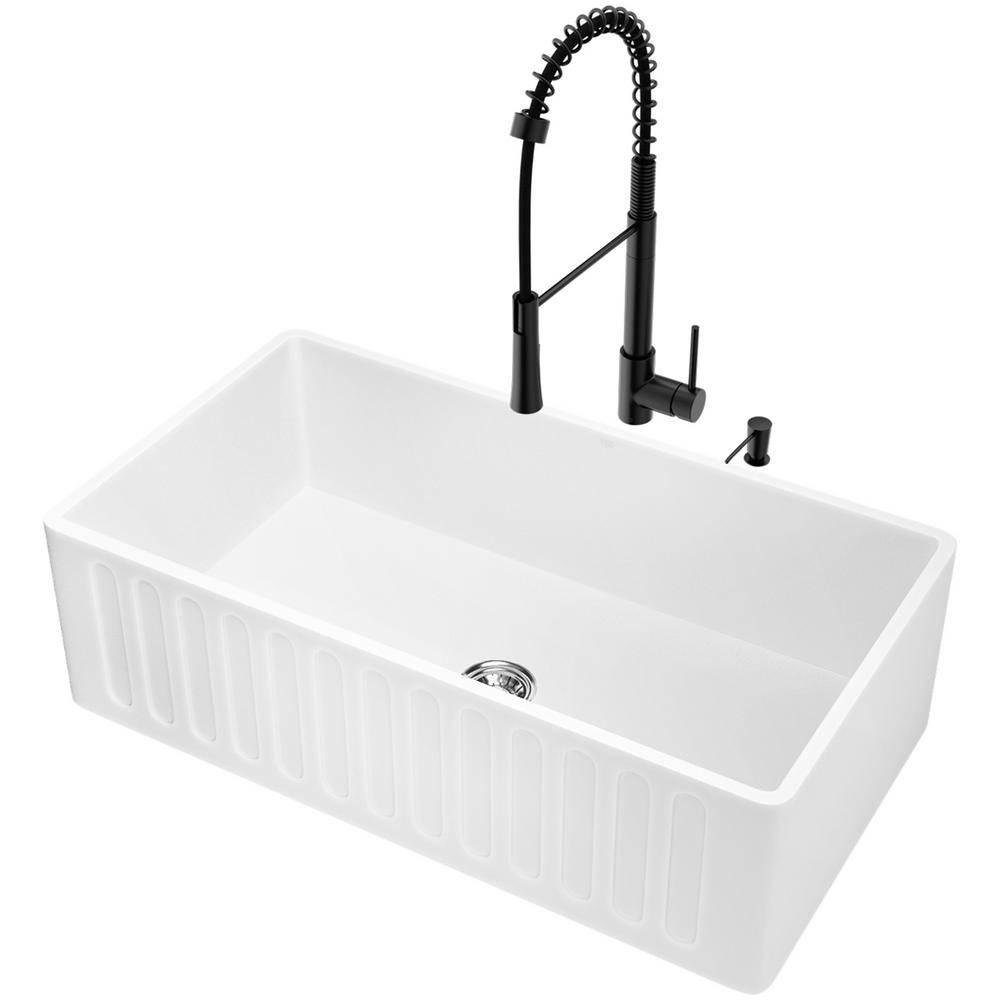 VIGO Matte Stone White Composite 33 in. Single Bowl Slotted Farmhouse Apron-Front Kitchen Sink with Faucet and Accessories, Matte White