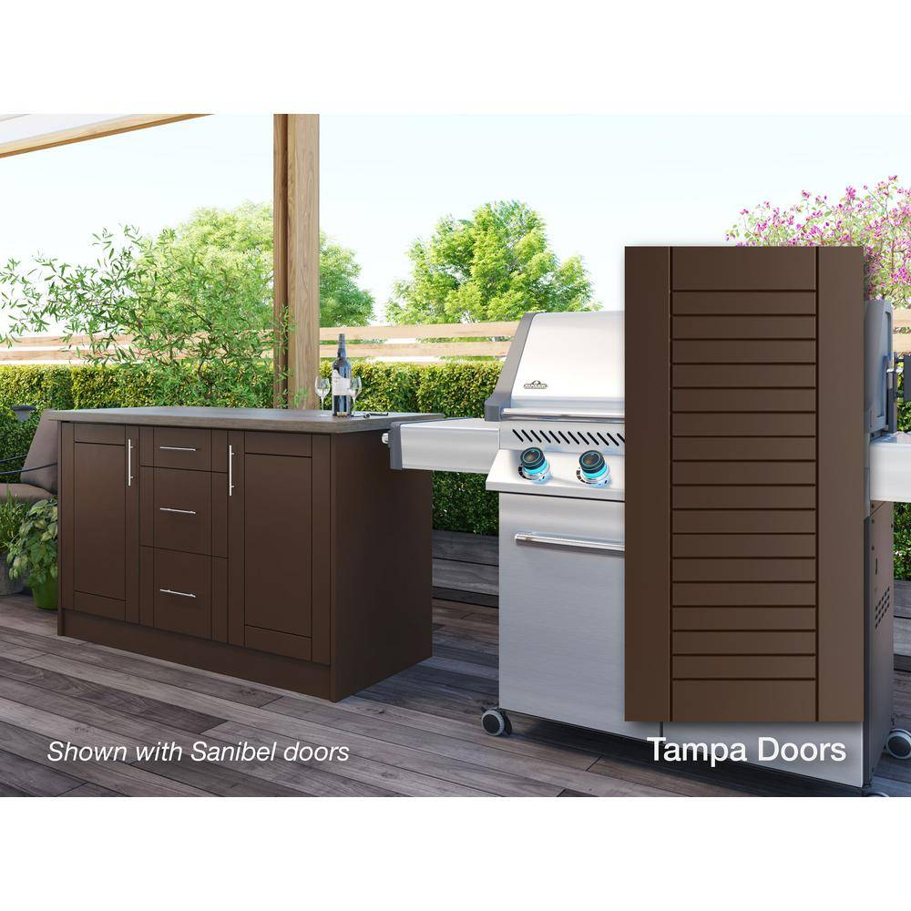 WeatherStrong Tampa Dock Brown 14-Piece 55.25 in. x 34.5 in. x 25.5 in. Outdoor Kitchen Cabinet Island Set