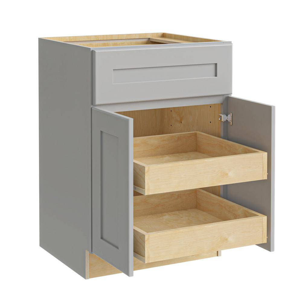 Home Decorators Collection Tremont Assembled 24 x 34.5 x 24 in Plywood Shaker Base Kitchen Cabinet 2 rollouts Soft Close in Painted Pearl Gray, Gray Painted