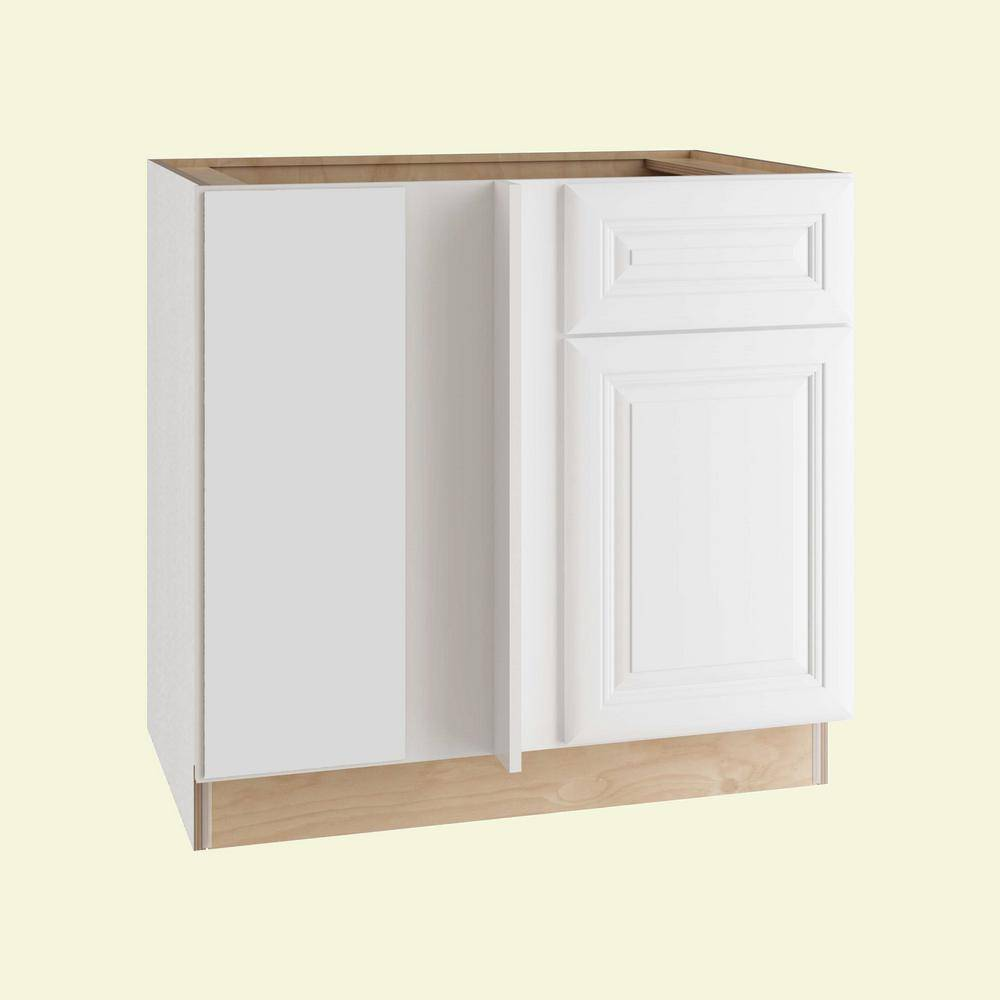 Home Decorators Collection Brookfield Assembled 42x34.5x24 in. Plywood Blind Corner Base Kitchen Cabinet Left Soft Close in Painted Pacific White