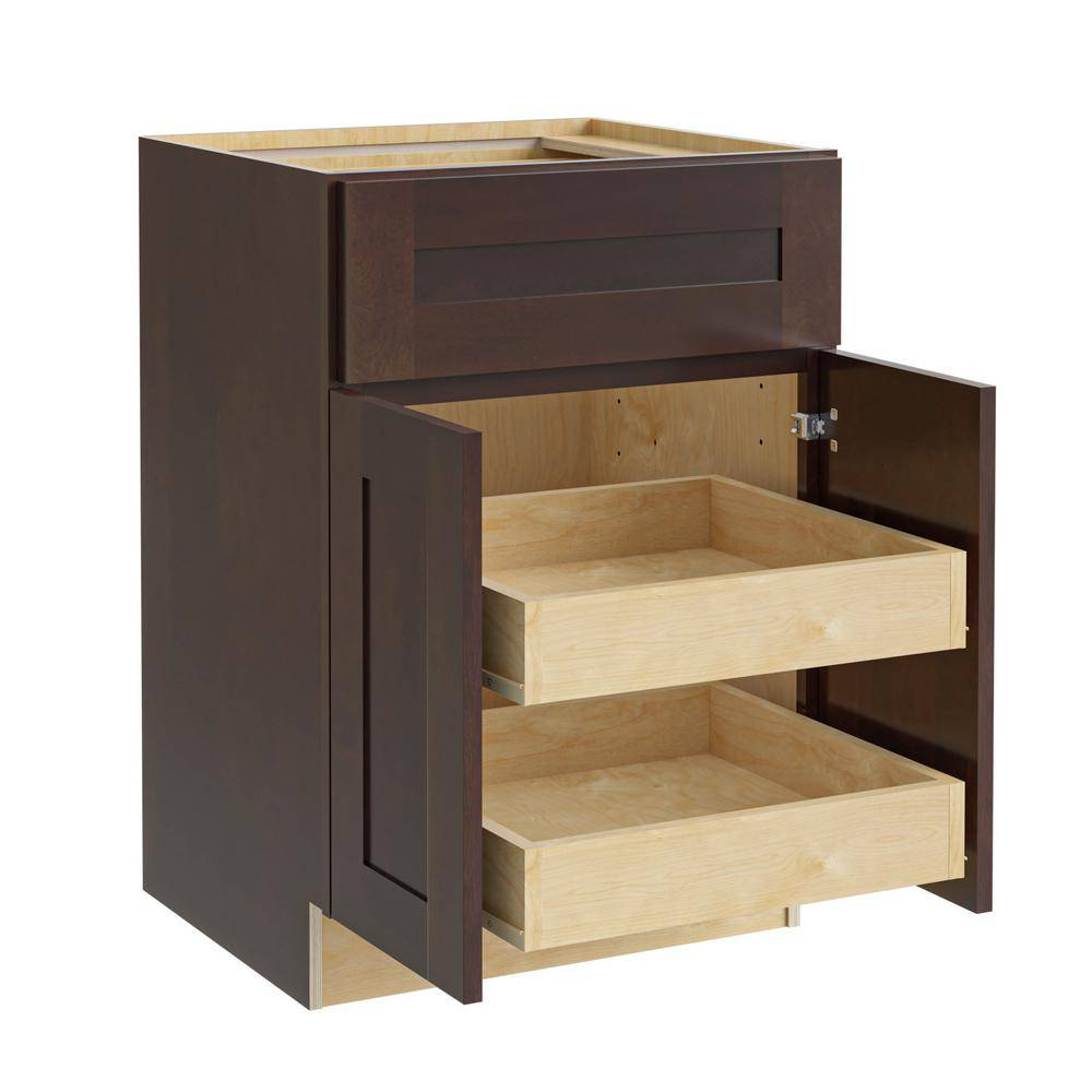 Home Decorators Collection Franklin Assembled 24x34.5x24 in. Plywood Shaker Base Kitchen Cabinet 2 rollouts Soft Close in Stained Manganite, Manganite Glaze