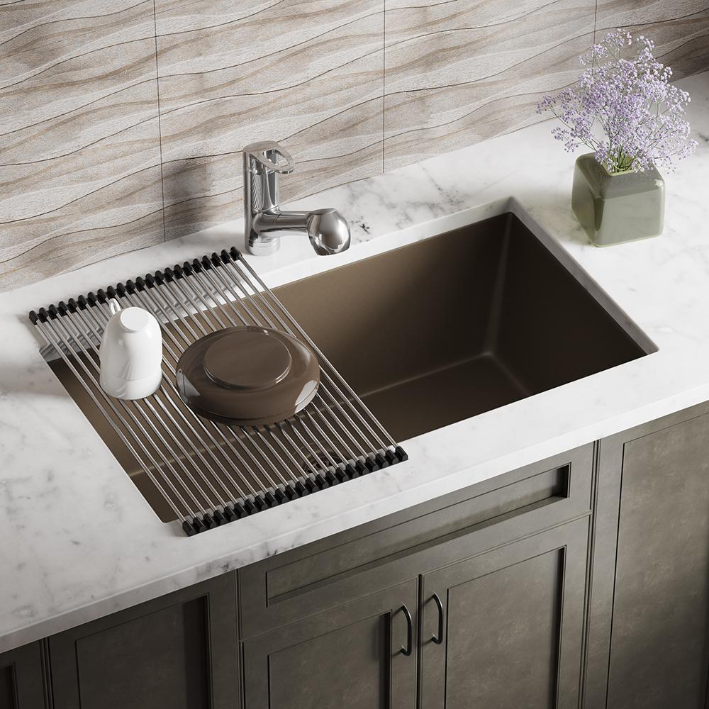 MR Direct Mocha Quartz Granite 33 in. Single Bowl Undermount Kitchen Sink with Additional Accessories, Brown