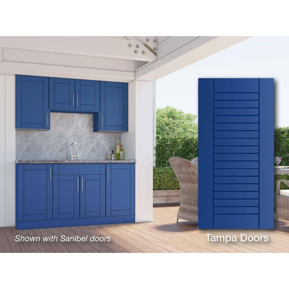 WeatherStrong Tampa Reef Blue 22-Piece 67.25 in. x 84 in. x 25 in. Outdoor Kitchen Cabinet Set