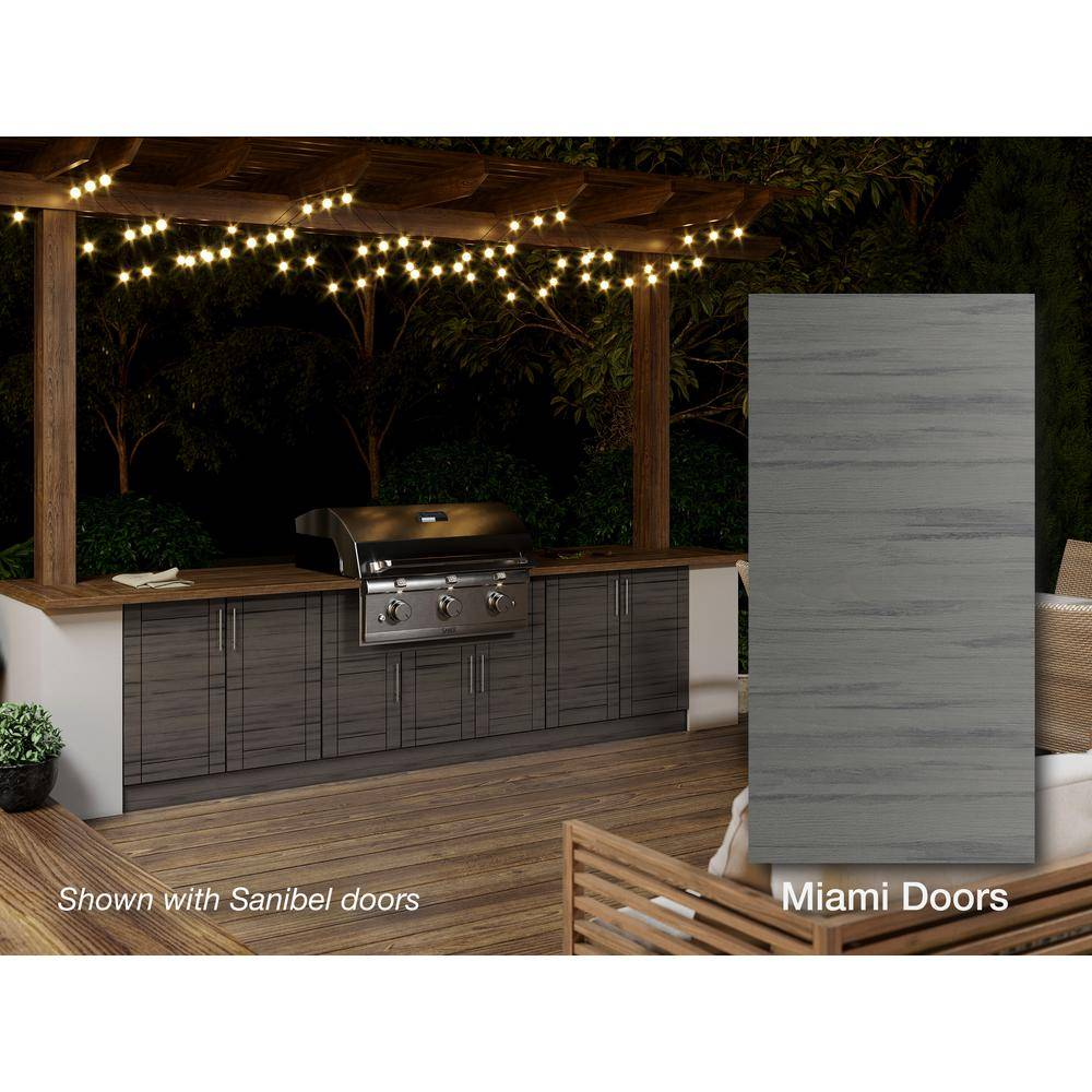 WeatherStrong Miami Weatherwood 20-Piece 121.25 in. x 34.5 in. x 28.5 in. Outdoor Kitchen Cabinet Island Set