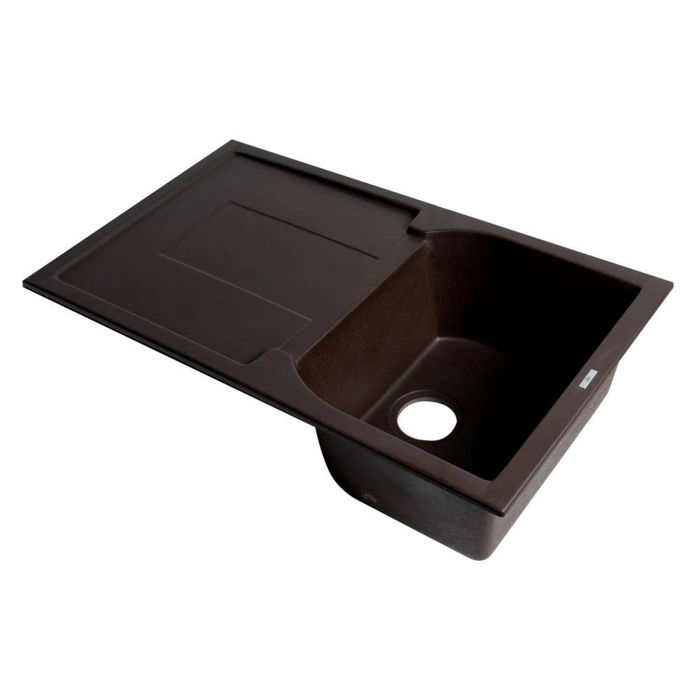 ALFI BRAND Drop-In Granite Composite 33.88 in. Single Bowl Kitchen Sink in Chocolate, Brown