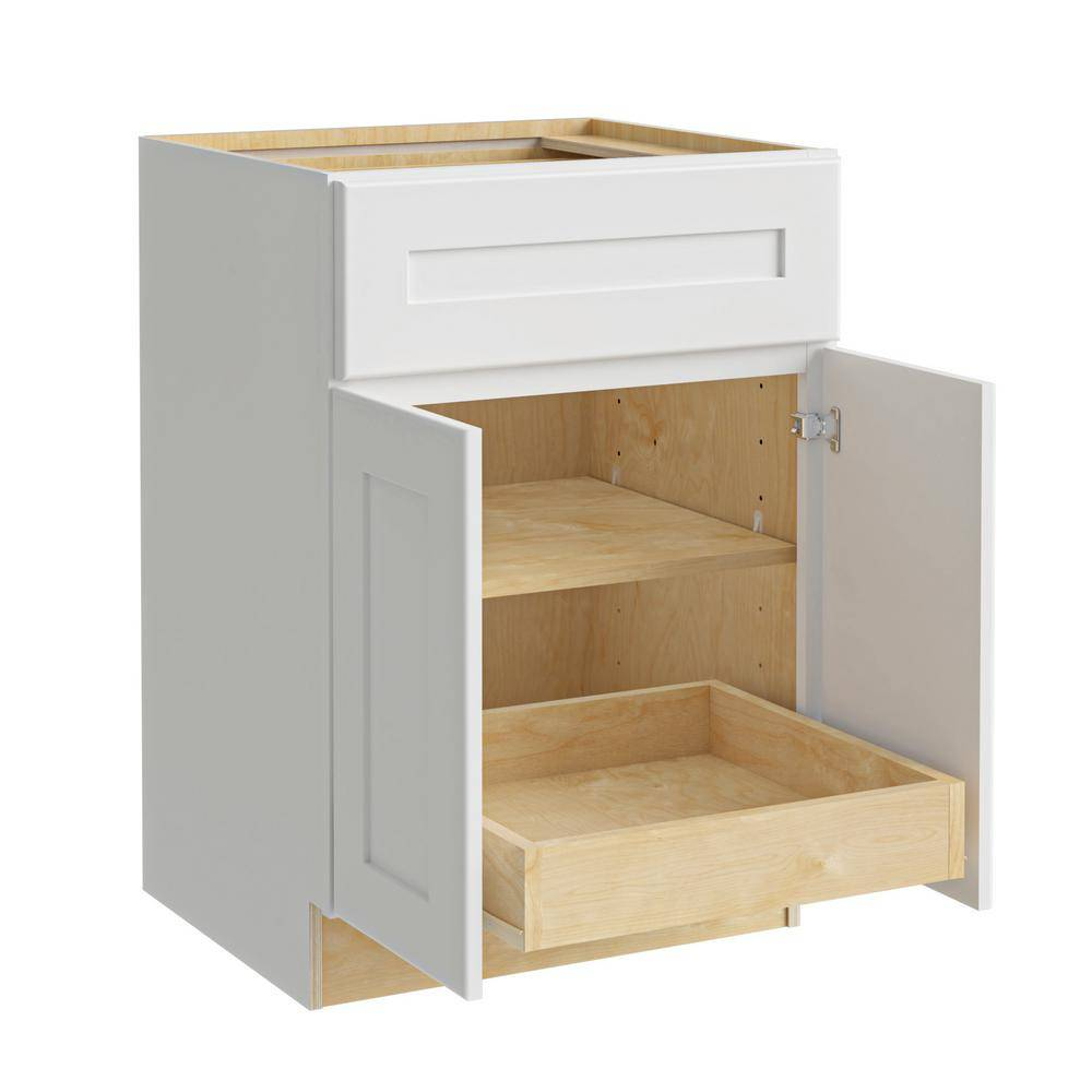 Home Decorators Collection Newport Assembled 24x34.5x24 in. Plywood Shaker Base Kitchen Cabinet 1 rollout Soft Close in Painted Pacific White, Pacific White Painted