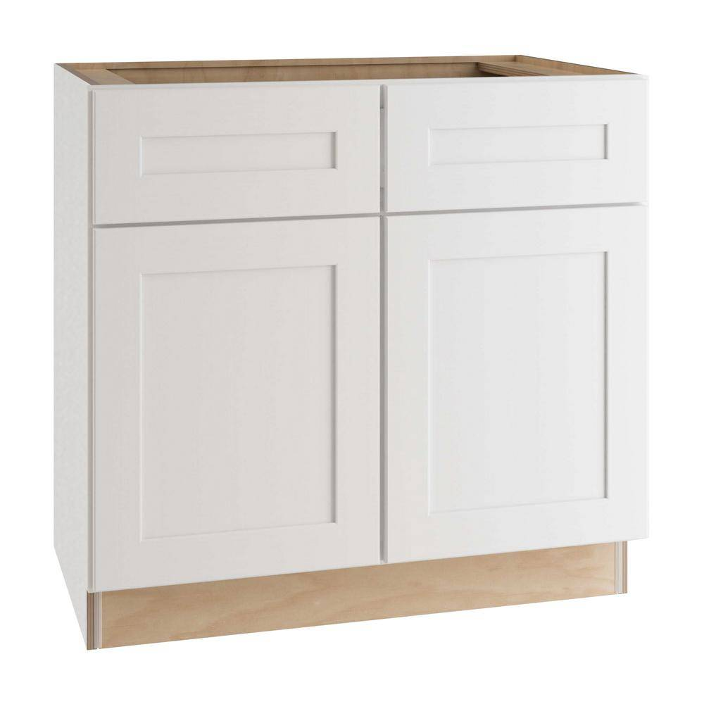 Home Decorators Collection Newport Assembled 36x34.5x24 in. Plywood Shaker Sink Base Kitchen Cabinet Soft Close Doors in Painted Pacific White