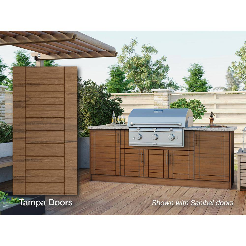 WeatherStrong Tampa Teak 14-Piece 91.25 in. x 34.5 in. x 28.5 in. Outdoor Kitchen Cabinet Island Set