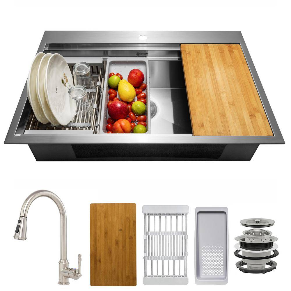 AKDY Handmade All-in-One Topmount Stainless Steel 33 in. x 22 in. Single Bowl Kitchen Sink w/ Pull-down Faucet, Accessory, Brushed Stainless Steel