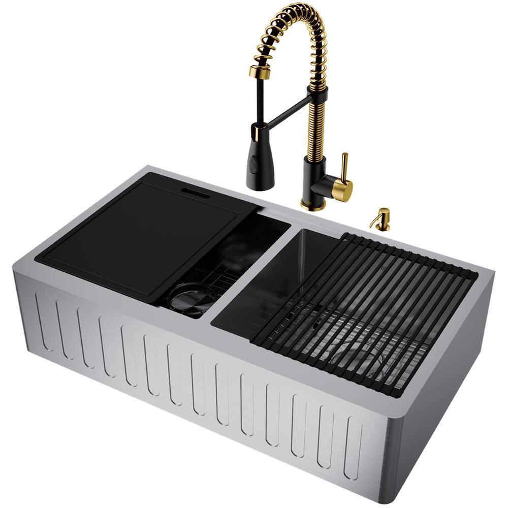 VIGO Oxford Stainless Steel 16-Gauge 36 in. Double Bowl Farmhouse Undermount Kitchen Sink with Faucet and Accessories, Silver