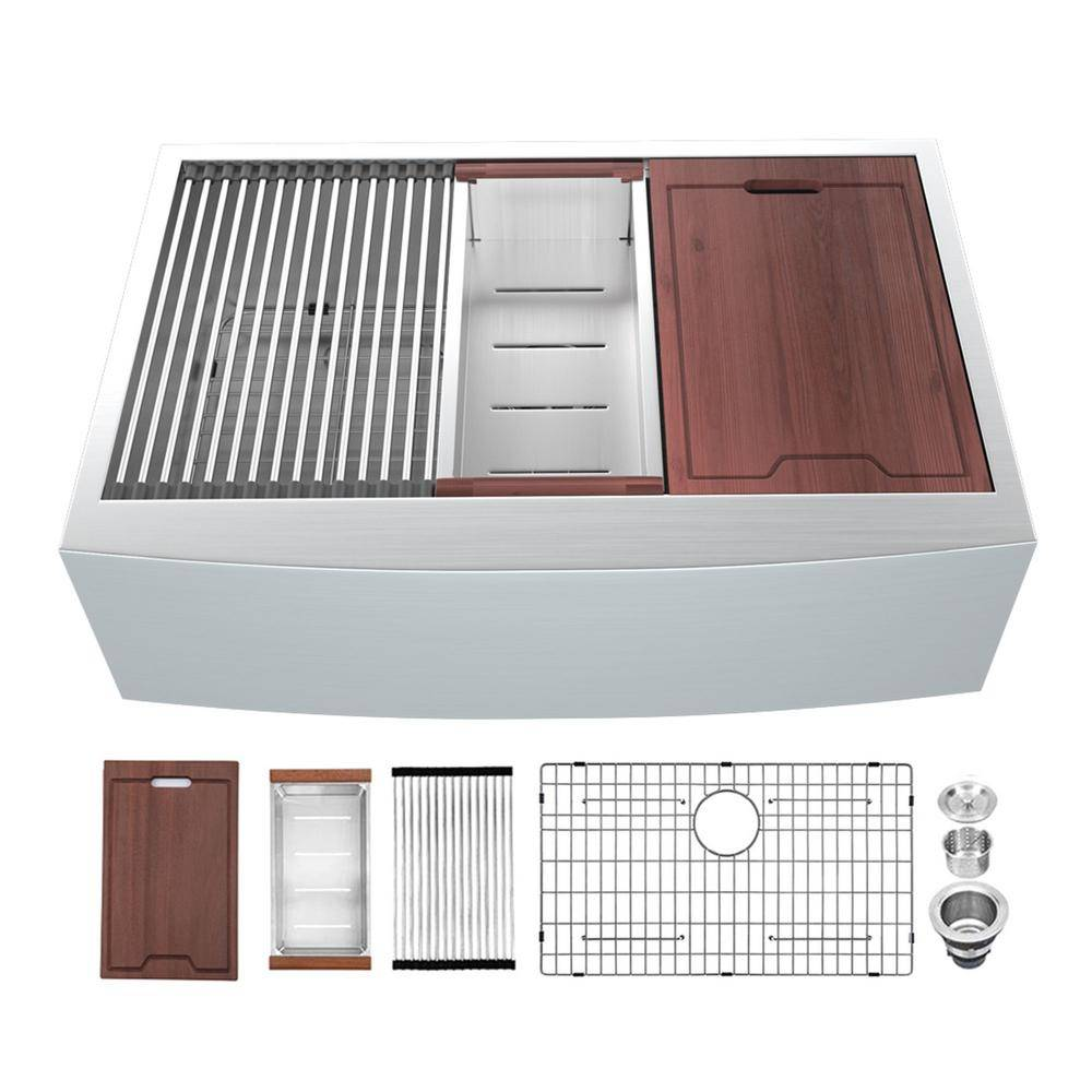 matrix decor Apron-Front Stainless Steel 30 in. 16-Gauge Single Bowl Farmhouse Kitchen Sink with Accessories, Silver