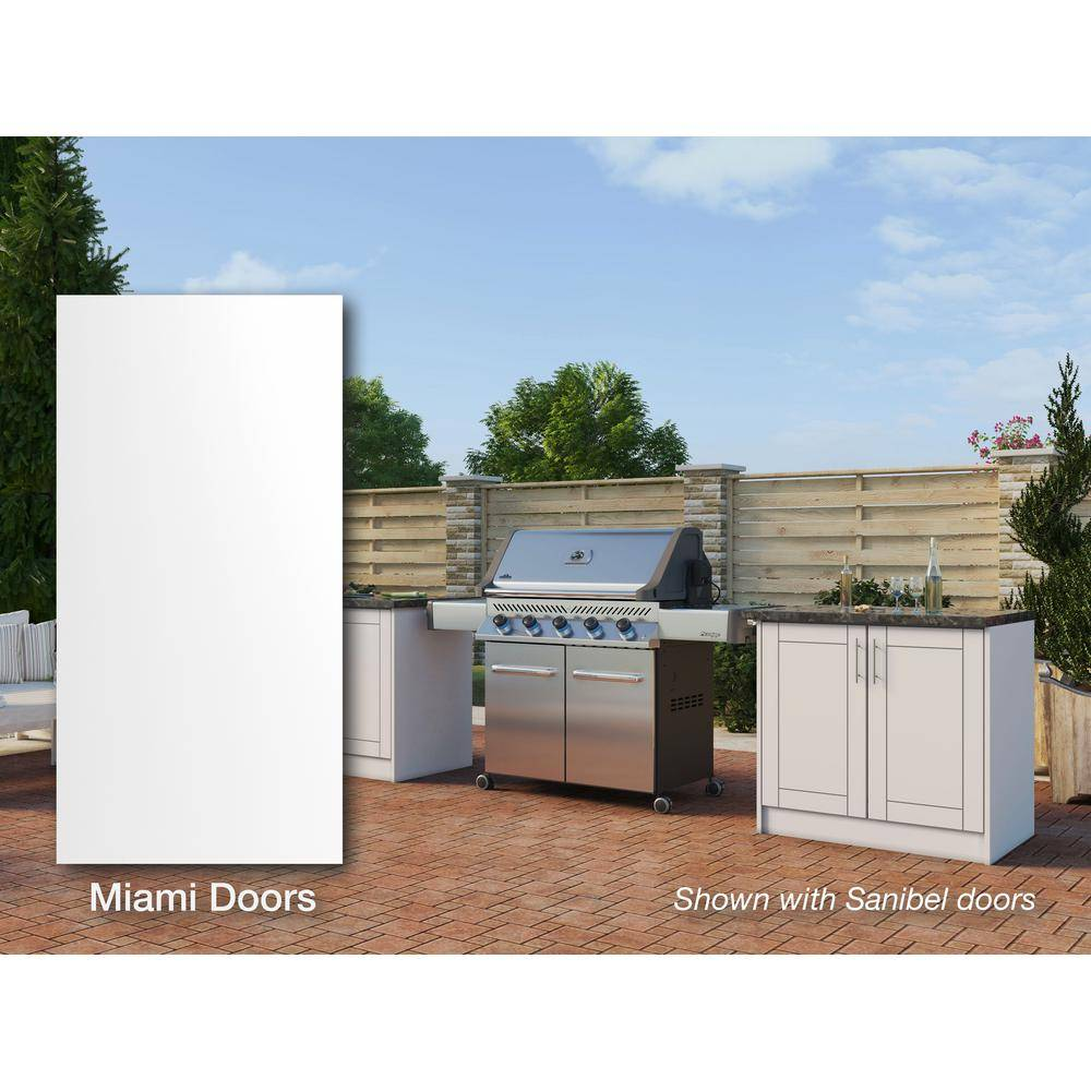 WeatherStrong Miami Shell White 16 piece 73.25 in. x 34.5 in. x 25.5 in. Outdoor Kitchen Cabinet Island Set