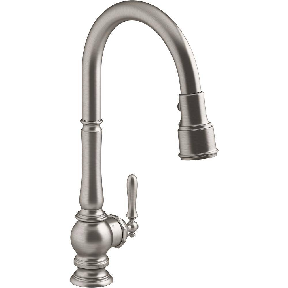 KOHLER Artifacts Single-Handle Kitchen Sink Faucet with Konnect and Voice-Activation in Vibrant Stainless