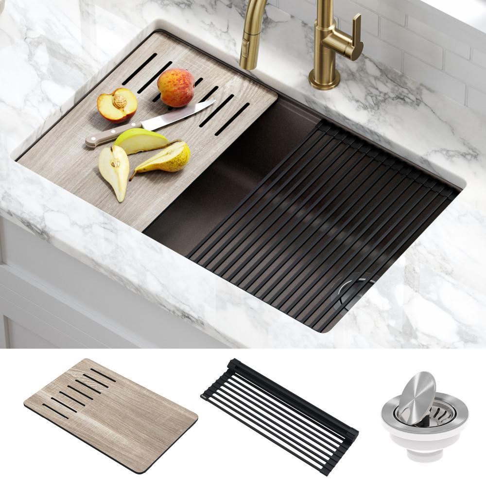 KRAUS Bellucci Brown Granite Composite 29 in. Single Bowl Undermount Workstation Kitchen Sink with Accessories, Metallic Brown